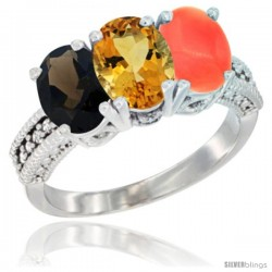 14K White Gold Natural Smoky Topaz, Citrine & Coral Ring 3-Stone 7x5 mm Oval Diamond Accent
