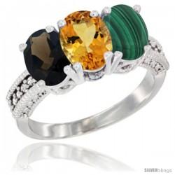 14K White Gold Natural Smoky Topaz, Citrine & Malachite Ring 3-Stone 7x5 mm Oval Diamond Accent