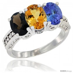 14K White Gold Natural Smoky Topaz, Citrine & Tanzanite Ring 3-Stone 7x5 mm Oval Diamond Accent