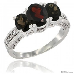 14k White Gold Ladies Oval Natural Garnet 3-Stone Ring with Smoky Topaz Sides Diamond Accent