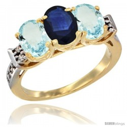 10K Yellow Gold Natural Blue Sapphire & Aquamarine Sides Ring 3-Stone Oval 7x5 mm Diamond Accent