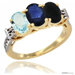 10K Yellow Gold Natural Aquamarine, Blue Sapphire & Black Onyx Ring 3-Stone Oval 7x5 mm Diamond Accent