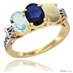 10K Yellow Gold Natural Aquamarine, Blue Sapphire & Opal Ring 3-Stone Oval 7x5 mm Diamond Accent