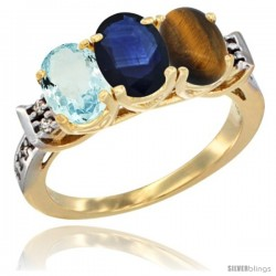 10K Yellow Gold Natural Aquamarine, Blue Sapphire & Tiger Eye Ring 3-Stone Oval 7x5 mm Diamond Accent