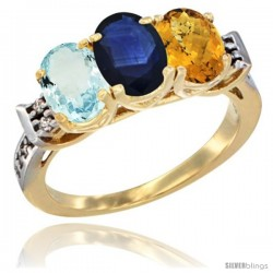 10K Yellow Gold Natural Aquamarine, Blue Sapphire & Whisky Quartz Ring 3-Stone Oval 7x5 mm Diamond Accent