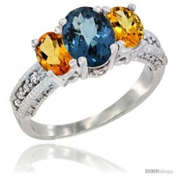 10K White Gold Ladies Oval Natural London Blue Topaz 3-Stone Ring with Citrine Sides Diamond Accent