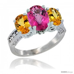 10K White Gold Ladies Natural Pink Topaz Oval 3 Stone Ring with Citrine Sides Diamond Accent