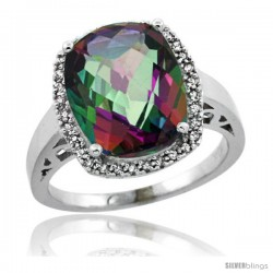 Sterling Silver Diamond Mystic Topaz Ring 5.17 ct Checkerboard Cut Cushion 12x10 mm, 1/2 in wide