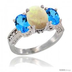 10K White Gold Ladies Natural Opal Oval 3 Stone Ring with Swiss Blue Topaz Sides Diamond Accent