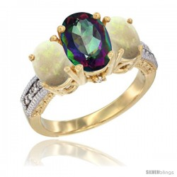 14K Yellow Gold Ladies 3-Stone Oval Natural Mystic Topaz Ring with Opal Sides Diamond Accent