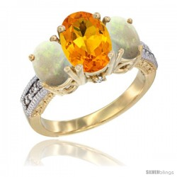 14K Yellow Gold Ladies 3-Stone Oval Natural Citrine Ring with Opal Sides Diamond Accent