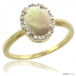 14k Yellow Gold Opal Diamond Halo Ring 8X6 mm Oval Shape, 1/2 in wide