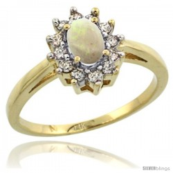 14k Yellow Gold Opal Diamond Halo Ring Oval Shape 1.2 Carat 6X4 mm, 1/2 in wide