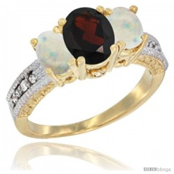 14k Yellow Gold Ladies Oval Natural Garnet 3-Stone Ring with Opal Sides Diamond Accent