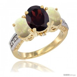 14K Yellow Gold Ladies 3-Stone Oval Natural Garnet Ring with Opal Sides Diamond Accent