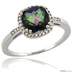 Sterling Silver Diamond Mystic Topaz Ring 1.5 ct Checkerboard Cut Cushion Shape 7 mm, 3/8 in wide
