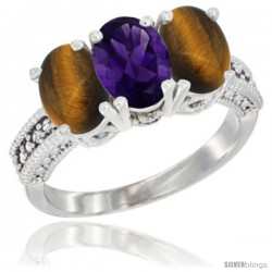 14K White Gold Natural Amethyst & Tiger Eye Sides Ring 3-Stone 7x5 mm Oval Diamond Accent