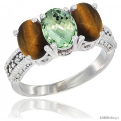 14K White Gold Natural Green Amethyst & Tiger Eye Sides Ring 3-Stone 7x5 mm Oval Diamond Accent