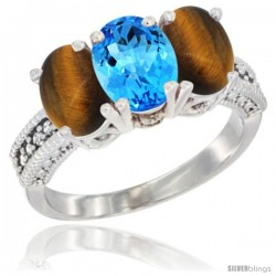 14K White Gold Natural Swiss Blue Topaz & Tiger Eye Sides Ring 3-Stone 7x5 mm Oval Diamond Accent