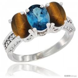 14K White Gold Natural London Blue Topaz & Tiger Eye Sides Ring 3-Stone 7x5 mm Oval Diamond Accent