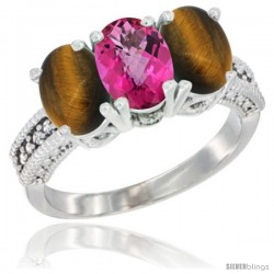 14K White Gold Natural Pink Topaz & Tiger Eye Sides Ring 3-Stone 7x5 mm Oval Diamond Accent
