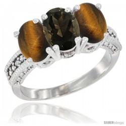 14K White Gold Natural Smoky Topaz & Tiger Eye Sides Ring 3-Stone 7x5 mm Oval Diamond Accent