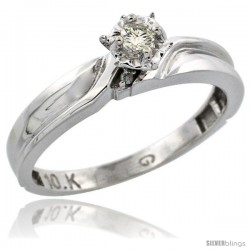 Sterling Silver Diamond Engagement Ring, w/ 0.05 Carat Brilliant Cut Diamonds, 1/8 in. (3.5mm) wide