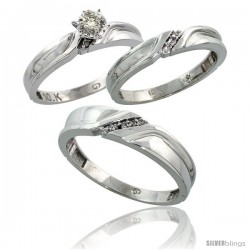 Sterling Silver 3-Piece Trio His (5mm) & Hers (3.5mm) Diamond Wedding Band Set, w/ 0.11 Carat Brilliant Cut Diamonds