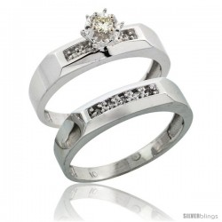 Sterling Silver 2-Piece Diamond Engagement Ring Set, w/ 0.10 Carat Brilliant Cut Diamonds, 3/16 in. (4.5mm) wide -Style Ag109e2