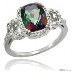 Sterling Silver Diamond Mystic Topaz Ring 2 ct Checkerboard Cut Cushion Shape 9x7 mm, 1/2 in wide