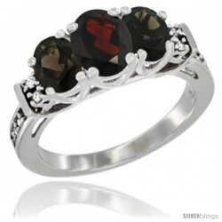 14K White Gold Natural Garnet & Smoky Topaz Ring 3-Stone Oval with Diamond Accent
