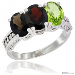 14K White Gold Natural Smoky Topaz, Garnet & Peridot Ring 3-Stone 7x5 mm Oval Diamond Accent