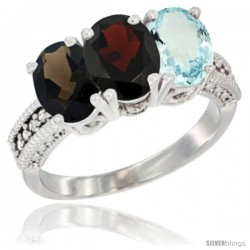 14K White Gold Natural Smoky Topaz, Garnet & Aquamarine Ring 3-Stone 7x5 mm Oval Diamond Accent