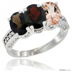 14K White Gold Natural Smoky Topaz, Garnet & Morganite Ring 3-Stone 7x5 mm Oval Diamond Accent