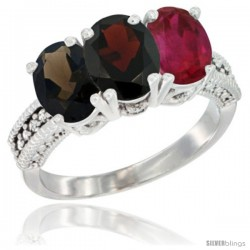14K White Gold Natural Smoky Topaz, Garnet & Ruby Ring 3-Stone 7x5 mm Oval Diamond Accent
