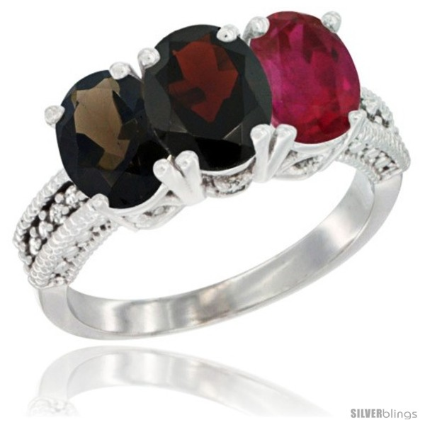 https://www.silverblings.com/59074-thickbox_default/14k-white-gold-natural-smoky-topaz-garnet-ruby-ring-3-stone-7x5-mm-oval-diamond-accent.jpg