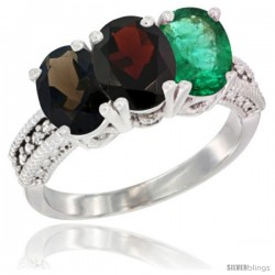 14K White Gold Natural Smoky Topaz, Garnet & Emerald Ring 3-Stone 7x5 mm Oval Diamond Accent