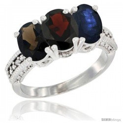 14K White Gold Natural Smoky Topaz, Garnet & Blue Sapphire Ring 3-Stone 7x5 mm Oval Diamond Accent