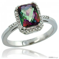Sterling Silver Diamond Mystic Topaz Ring 1.6 ct Emerald Shape 8x6 mm, 1/2 in wide -Style Cwg08129