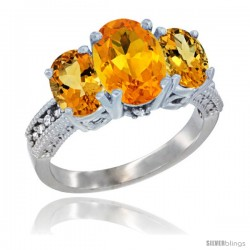 10K White Gold Ladies Natural Citrine Oval 3 Stone Ring Diamond Accent