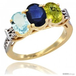 10K Yellow Gold Natural Aquamarine, Blue Sapphire & Lemon Quartz Ring 3-Stone Oval 7x5 mm Diamond Accent