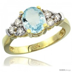 10k Yellow Gold Ladies Natural Aquamarine Ring oval 9x7 Stone