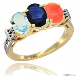 10K Yellow Gold Natural Aquamarine, Blue Sapphire & Coral Ring 3-Stone Oval 7x5 mm Diamond Accent