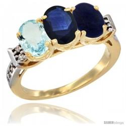 10K Yellow Gold Natural Aquamarine, Blue Sapphire & Lapis Ring 3-Stone Oval 7x5 mm Diamond Accent
