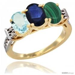 10K Yellow Gold Natural Aquamarine, Blue Sapphire & Malachite Ring 3-Stone Oval 7x5 mm Diamond Accent