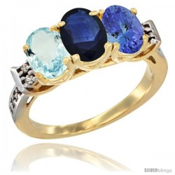 10K Yellow Gold Natural Aquamarine, Blue Sapphire & Tanzanite Ring 3-Stone Oval 7x5 mm Diamond Accent