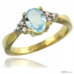 10k Yellow Gold Ladies Natural Aquamarine Ring oval 7x5 Stone -Style Cy912168