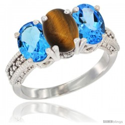 10K White Gold Natural Tiger Eye & Swiss Blue Topaz Sides Ring 3-Stone Oval 7x5 mm Diamond Accent