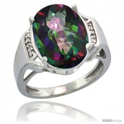 Sterling Silver Diamond Mystic Topaz Ring 9.7 ct Large Oval Stone 16x12 mm, 5/8 in wide