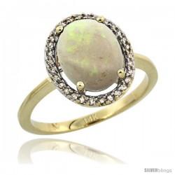 14k Yellow Gold Diamond Halo Opal Ring 2.4 carat Oval shape 10X8 mm, 1/2 in (12.5mm) wide